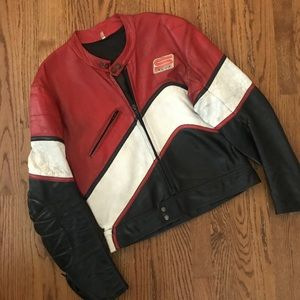 Vtg Distressed Pesci motorcycle biker jacket 42